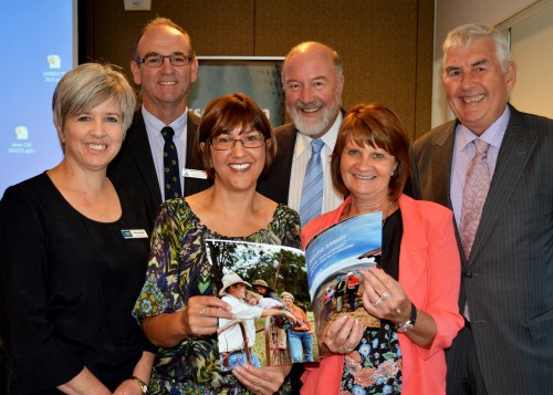 Blayney Shire Council General Manager Rebecca Ryan and Mayor Scott Ferguson, Western Research Institute CEO Danielle Ranshaw with her Cadia mine impacts report in hand, Association of Mining Related Councils Chair Cr. Peter Shinton, Cabonne Shire Councillor Sharon Wilcox and CEO of the Association Don Tydd.